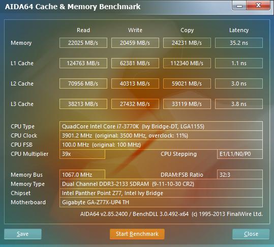 AIDA64 2.85 Memory Benchmark