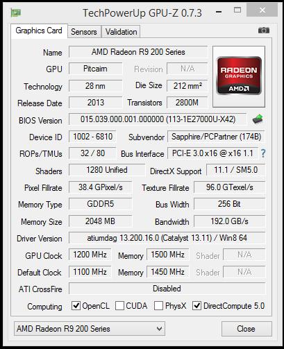 GPU-Z in OC: 1200 MHz - 1500 MHz