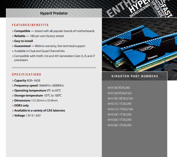 Specifiche tecniche delle Kingston HyperX Predator.
