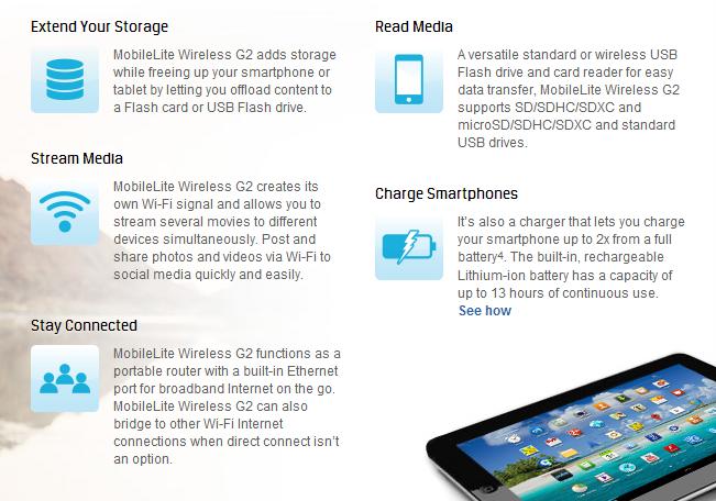 Technical specs for the Kingston MobileLite Wireless G2.