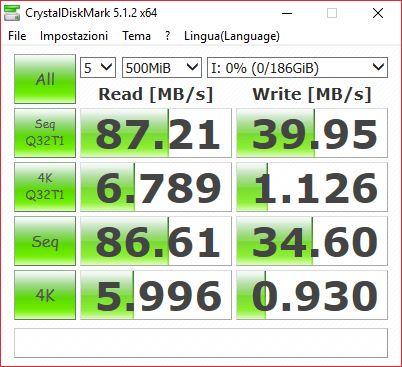 CrystalDiskMark senza adattatore SD